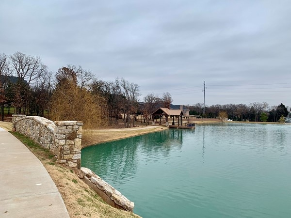 Neighborhood pond and fishing dock