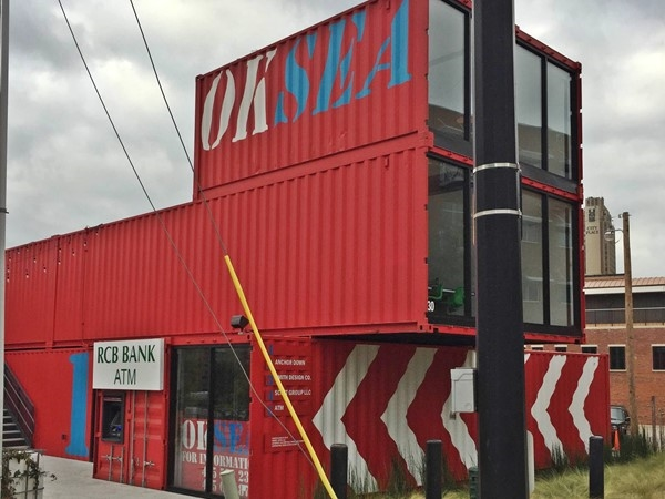 "OKSEA is a clothing store, a bank and a bar all neatly ""contained"" in shipping containers"