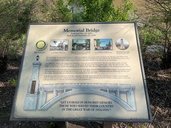 Memorial Bridge was dedicated almost 100 years ago. This plaque reflects the dedication