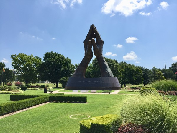 Praying hands at Oral Roberts University