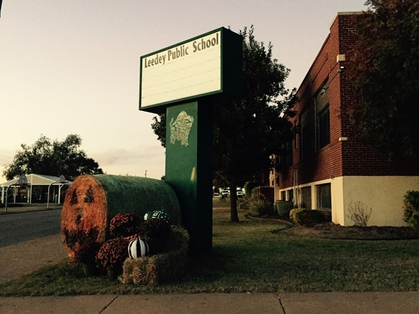 Fun fall decorations at the Leedey School