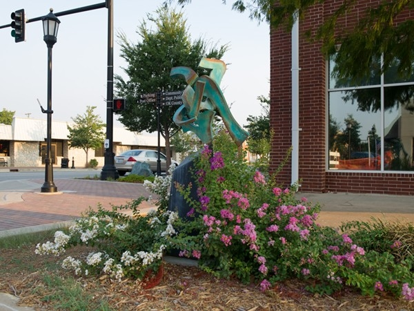A bronze sculpture adorns downtown Edmond