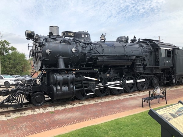 Train engine in downtown Bartlesville next to the Chamber of Commerce