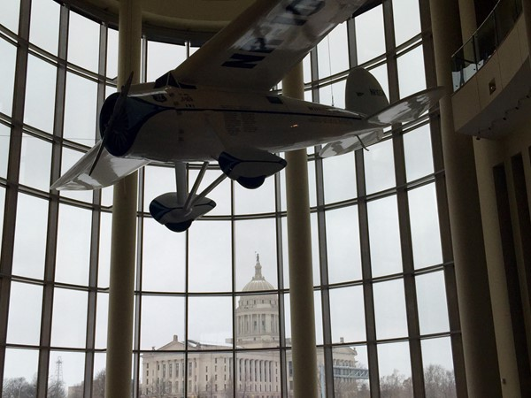 View of the Capitol Building from inside the Oklahoma History Center