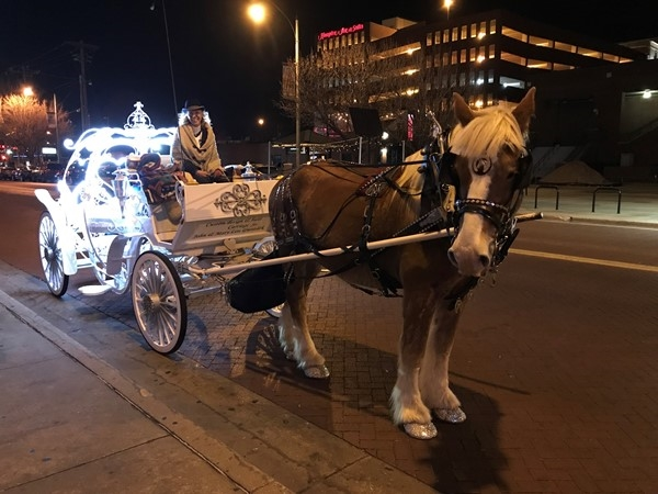 Taking a horse buggy ride after dinner in Bricktown