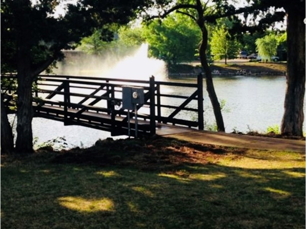 Peaceful, shaded bridge overlooking the lake and fountain in Lansbrook Addition